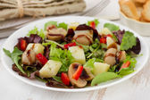 Mushroom salad with sauce on the white plate — Stock Photo