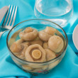 Stock Photo: Marinated champignon with toasts