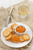 Salmon pate with mini toasts on the plate — Stock Photo