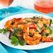 Fish with shrimps in sauce on the plate — Stock Photo
