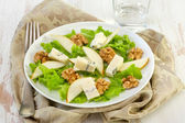 Salad with cheese, pears and walnut — Stock Photo