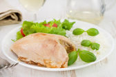Boiled chicken and rice with fresh salad — Stock Photo