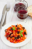 Salad tomato, pepper, olives and basil — Stock Photo