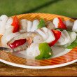 Squid with shrimps and vegetables on the plate — Stock Photo