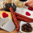 Snack with red wine — Stock Photo