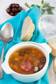 Soup with sausages in the bowl — Stock Photo