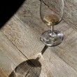 Empty glass on wood — Stock Photo