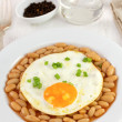 Fried egg witn onion and beans — Stock Photo #18935747