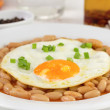 Fried egg witn onion and beans - Stock fotografie