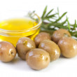 Olives with olive oil and rosemary — Stock Photo