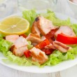 Salad with salmon, pepper and lemon — Stock Photo