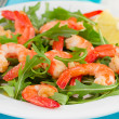 Salad with seafood on the white plate - Stock Photo