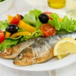 Fried sardines with fresh salad — Stock Photo #21542373