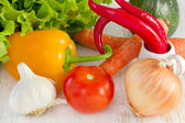 Vegetables on the old white table — Stock Photo