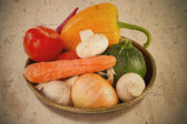 Vegetables in the old dish — Stock Photo