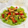 Salad with mussels with glass of wine — Stock Photo