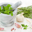 Mortar and pestle with herbs and spices — Stock Photo