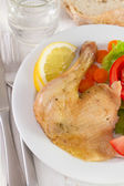 Chicken with salad and lemon on white plate — Stock Photo