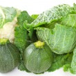 Green vegetables on white background — Stock Photo
