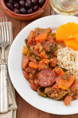 Sausages with meat, beans and boiled rice — Stock Photo
