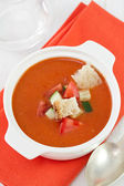 Gazpacho in white bowl — Stock Photo