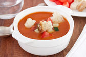 Gaspacho with bread — Stock Photo
