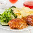 Fried chicken and glass of wine — Stock Photo
