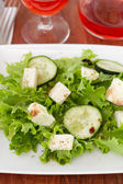 Salad with mozzarella on white plate — Stock Photo
