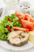 Boiled fish with vegetables on the plate — Stock Photo