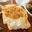 Bread with fish pate — Stock Photo