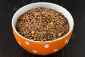 Lentil in orange bowl — Stock Photo