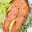 Salmon with salad on white plate — Stock Photo #33239731
