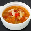 Soup in white bowl — Stock Photo