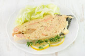 Salmon with sauce — Stock Photo