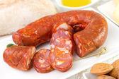 Chorizo on dish — Stock Photo