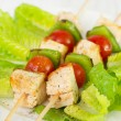 Chicken with vegetables and lettuce — Stock Photo