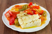 Boiled fish with boiled vegetables — Stock Photo