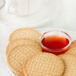 Cookies with jam on plate — Stok fotoğraf