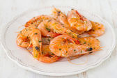 Shrimps on plate — Stock Photo