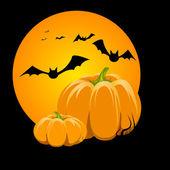 Pumpkin in the night — Stock Vector