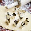 Love cookie cutter — Stock fotografie
