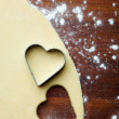 Baking heart cookies — Stock Photo