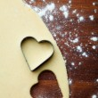 Baking heart cookies — ストック写真
