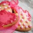 图库照片: Pink heart shape cookies for Valentines Day celebration