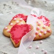 Pink heart shape cookies for Valentines Day celebration — Stock Photo #12110805