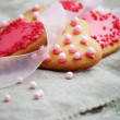 Pink heart shape cookies for Valentines Day celebration — Stock Photo #12110810