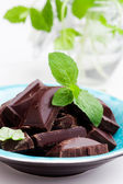 Chocolate with mint — 图库照片