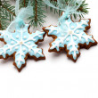 Snowflake gingerbread cookies — Stock Photo #13468185