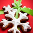 Stock Photo: Snowflake gingerbread cookies