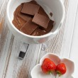 Chocolate fondue - Stock Photo
